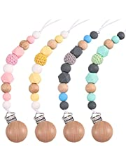 loraleo 4Pcs Pacifier Clip Soother Chains, Soft Silicone Teething Relief Beads Universal Holder Leash, Safe Teething Toy for Baby Girls Boys, Chewy Silicone Soother Clips Shower Toy