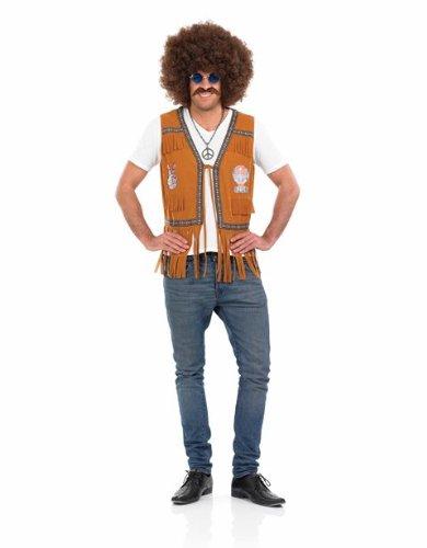60s Mens Fancy Dress (1960s Hippie Mens Fringed Fancy Dress Waistcoat - XL (Chest 46-48in))