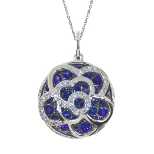 - 0.81 Carat (ctw) 14k White Gold Round Blue Sapphire and Diamond Women's Floating Pendant with 18