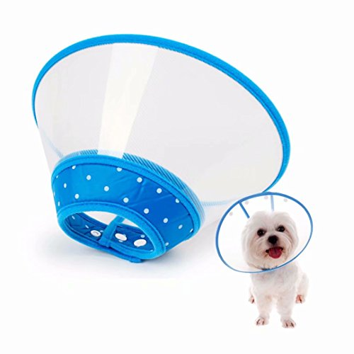 Fancy baby Adjustable Recovery Dog Cone Cat Cone Clear Padded ECollar with Breathable Soft Edge  Plastic Soft Cone Designed for Cats and Puppies