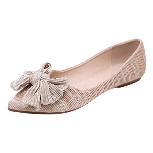 Cywulin Women's Comfortable Bow Knot Pointy Toe Slip On Ballet Sweet Flat Dress Shoes Elegant Cute Ballerina Fashion Loafer (Beige, 7.5 M ()