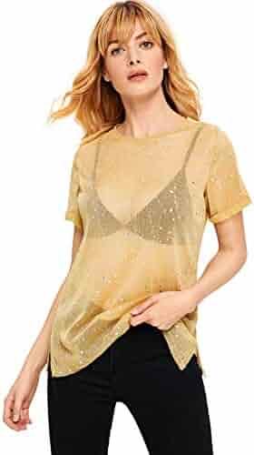 bd0c2ee2ce4f80 WDIRA Women s Glitter Sheer See Through Short Sleeve Mesh Top Tee Blouse