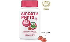 SmartyPants Kids Probiotic Complete Daily Gummy Vitamins; Probiotics & Prebiotics; Gluten Free, Digestive & Immune Support*; 4 billion CFU, Vegan, Non-GMO, Stawberry Crème, 60 Count (30 Day Supply)