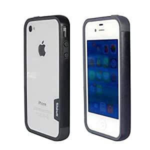 QJM Fashion Double Color TPU Frame Bumper for iPhone4S(Black+Gray)