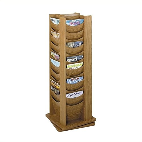 Safco Products 4335MO Solid Wood Rotating Display, 48 Pocket, Medium Oak -