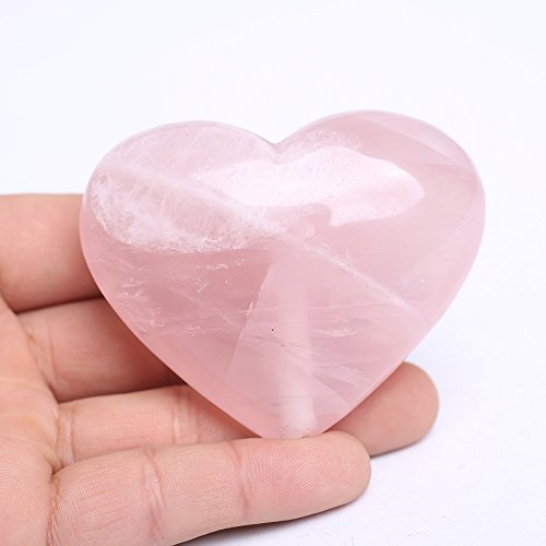 Yujianni Natural Rose Quartz Heart Pink Quartz Healing Gemstone Love Carved Polished Carved Palm Worry Stone Reiki Balancing (Candle Pink Heart Rose)