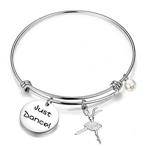 - QIIER Dancer Gift Just Dance Bangle Bracelet Dance Jewelry Ballet Gift for Dancer Ballerina Gift (Silver)