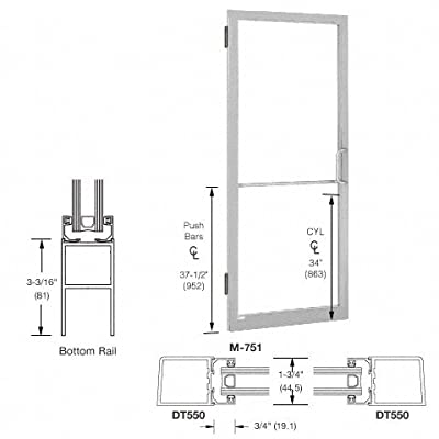 "Clear Anodized Single 36"" x 84"" Latch on Right Offset Hung 250 Narrow Stile Entrance Door from CR Laurence"