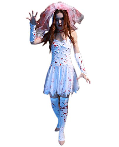 JJ-GOGO Women's Halloween Zombie Bride Costume