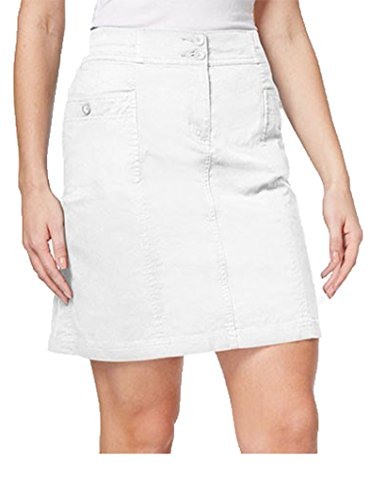 2 Button Stretch Skort - Karen Scott Womens Casual Comfort Waist Skort White 10