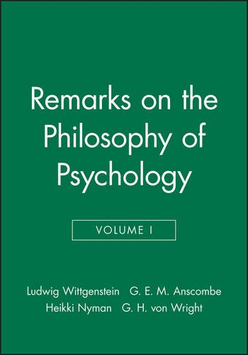 Remarks On The Philosophy Of Psychology  Volume 1