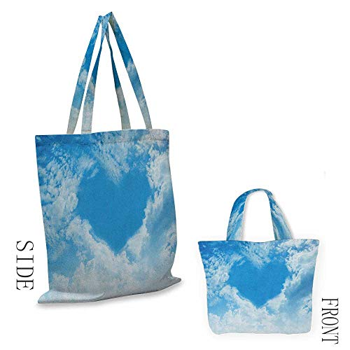 "Tote bag SkyHeart Shape Love Themed Clouds Atmosphere Illustration Nature Spring Summer Season Pale Blue White18""W x 16""H from Perfectble"