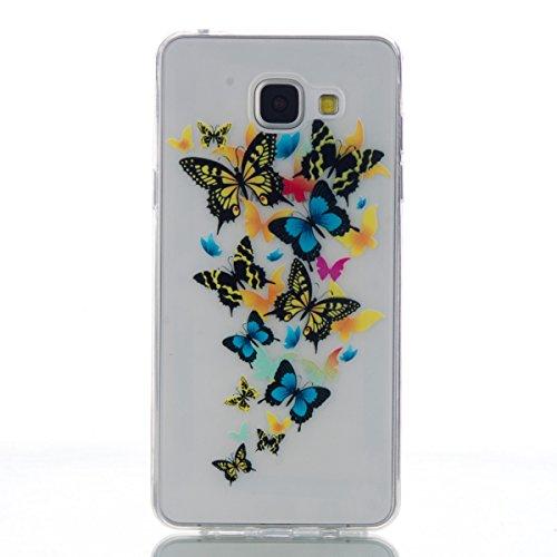 Funda para Samsung Galaxy A5 (2016) A510F, Ukayfe Suave Carcasa Caso Parachoques Diseño pintado Patrón para Samsung Galaxy A5 (2016) A510F,Funda Case Lujo Premium Bling Caja PC Dura Ultra Fina Cubiert Mariposa