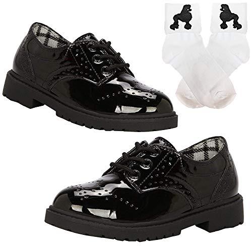 50s Girls Saddle Oxford Dress Shoes w/Bobby Poodle Sock