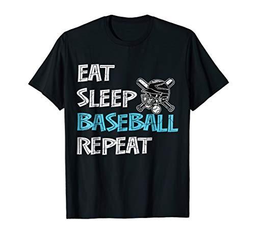 Eat Sleep Baseball Repeat Shirt Gifts with Bat