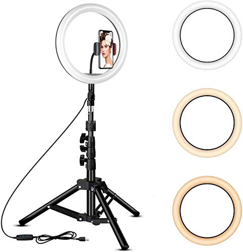 Generic 10 inch Big LED Selfie Ring Light with Extendable Tripod Stand 7 Feet with 3 Light Mode(White, Warm, Yellow) and 11 Level Brightness.