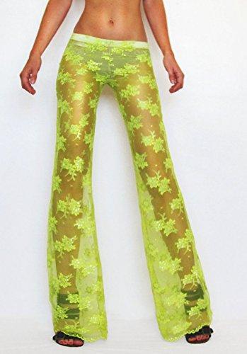Neon Lime Yellow Lace Pants/ Boho Pants/ Festival Pants/ Dance Pants/ Burning Man Pants/ Beach Cover-Up Pants/ Flare Pants/ Playa Ask a question $45.00