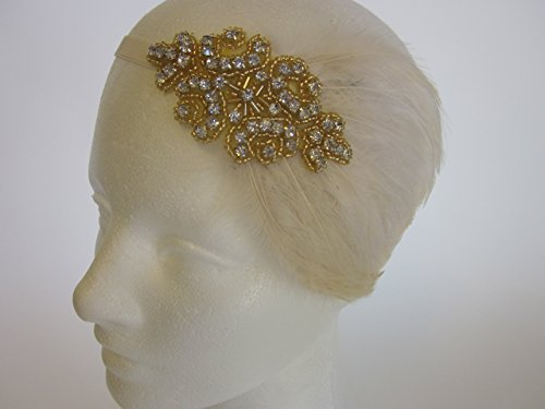 Custom Gold Rhinestone 1920s Great Gatsby Beaded Feathered Headband