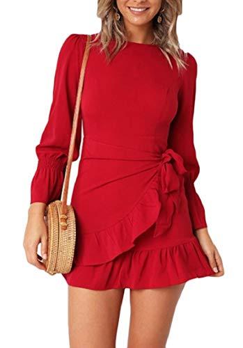 Jaycargogo Femmes Mode Wrap Ruffle Taille Cravate Manches Longues Ceinturé Mini-robe Rouge