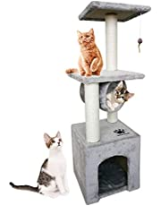 Seemo Cat Tree Tower Cat Tree House Cat Tree Condo 3.0ft (93cm) Wood Rattan Pet Supplies with Sisal-Covered Scratching Post Pet Climbing Condo Easy to Assemgbly, Grey