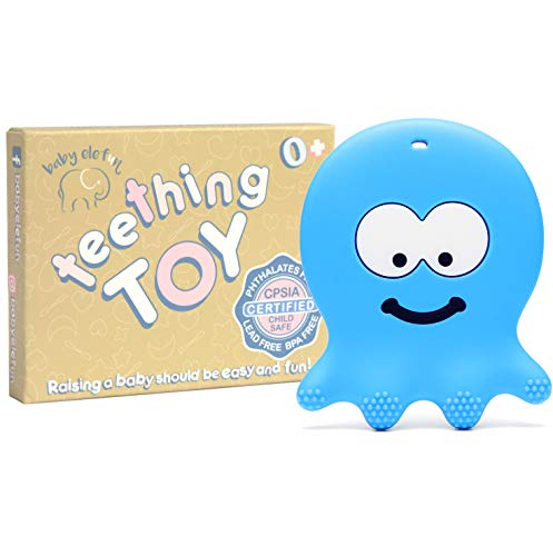 Teething Toys for Boys - BPA Free Silicone - Easy to Hold, Soft, Bendable, Highly Effective Octopus Teether, Best for Freezer, Cool 3 6 12 Months 1 Year Old]()