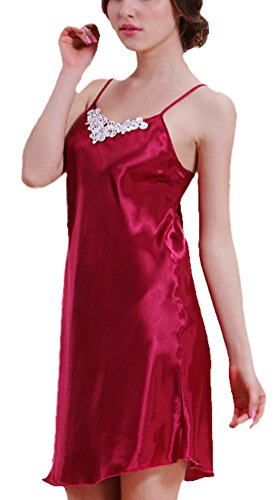 Women's Silk Lingerie Pajamas Sleepwear Robes Nightgown,DarkRed
