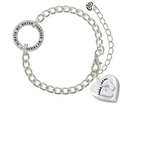 Baby Feet Heart Locket Always My Sister Forever My Friend Affirmation Link Bracelet
