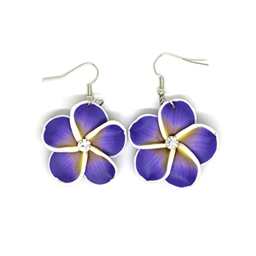 Teri's Boutique Hawaii Hibicus Orchid Tropical Flower Rhinestone Point Women Kid Fish Hook Dangle Earrings (Purple)