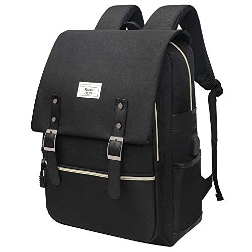 Unisex College Bag Fits up to 15.6'' Laptop Casual Rucksack Waterproof School Backpack Daypacks (AllBlackWithUSB)
