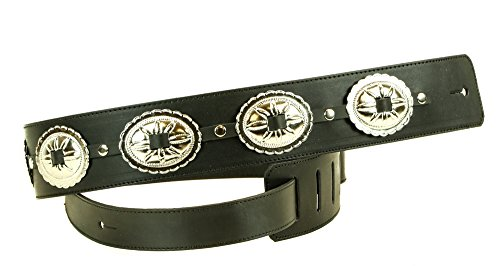 Oval Concho Genuine Leather USA Handmade Buckle Guitar Strap - Concho Buckle