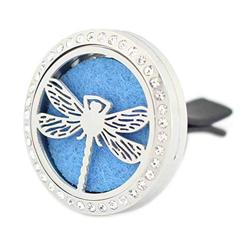 Fly Pads Replacement (Car Aromatherapy Essential Oil Diffuser Air Freshener Vent Clip, Dragonfly Stainless Steel 30mm Rhinestones Locket, 11 Refill Pads)