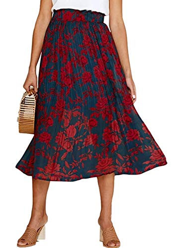 (Womens Floral Print Long Skirt Formal Wear to Work Shirts with Side Pockets Red Small)
