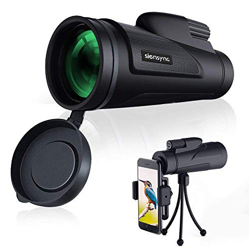 Monocular Telescope, Siensync 12X50 High Powered Waterproof Fogproof Monocular for Phone with Tripod Smartphone Holder for Adult Bird Watching, Outdoor Camping and Traveling, BAK4 Prism Scope