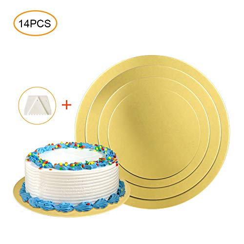 Cake Boards,Golden Round Cake Circles 12 Pack Cake Base Cardboards 3 Each (6, 8, 10, 12 Inch) Cake Rounds Cake Circles Round Cake Boards Baking Sets With 2 Card Scrapers ()