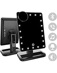 FENCHILIN Makeup Mirror - 20 LED Lights Cosmetic Mirror & Touch Screen Dimmable and Removable 10X Magnifying,180° Rotation Vanity Mirror with Lights (Bluetooth-Black)