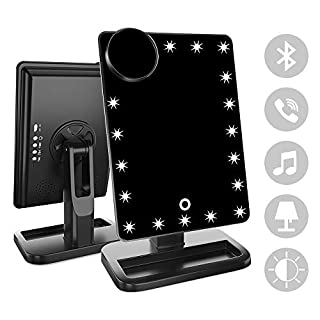 FENCHILIN Vanity Mirror with Lights Bluetooth Lighted Makeup Mirror Touch Screen Wireless Audio Speaker Dimmable Light Detachable 10X Magnification Rechargable Power