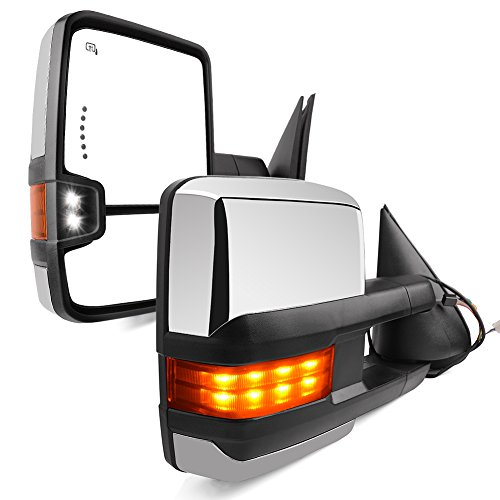 YITAMOTOR Towing Mirrors Compatible for 99-02 Chevy Silverado Avalanche GMC Sierra Pair Tow Power Heated LED Signal & Clearance Light Side Mirrors - Gmc Truck New Chrome Mirrors