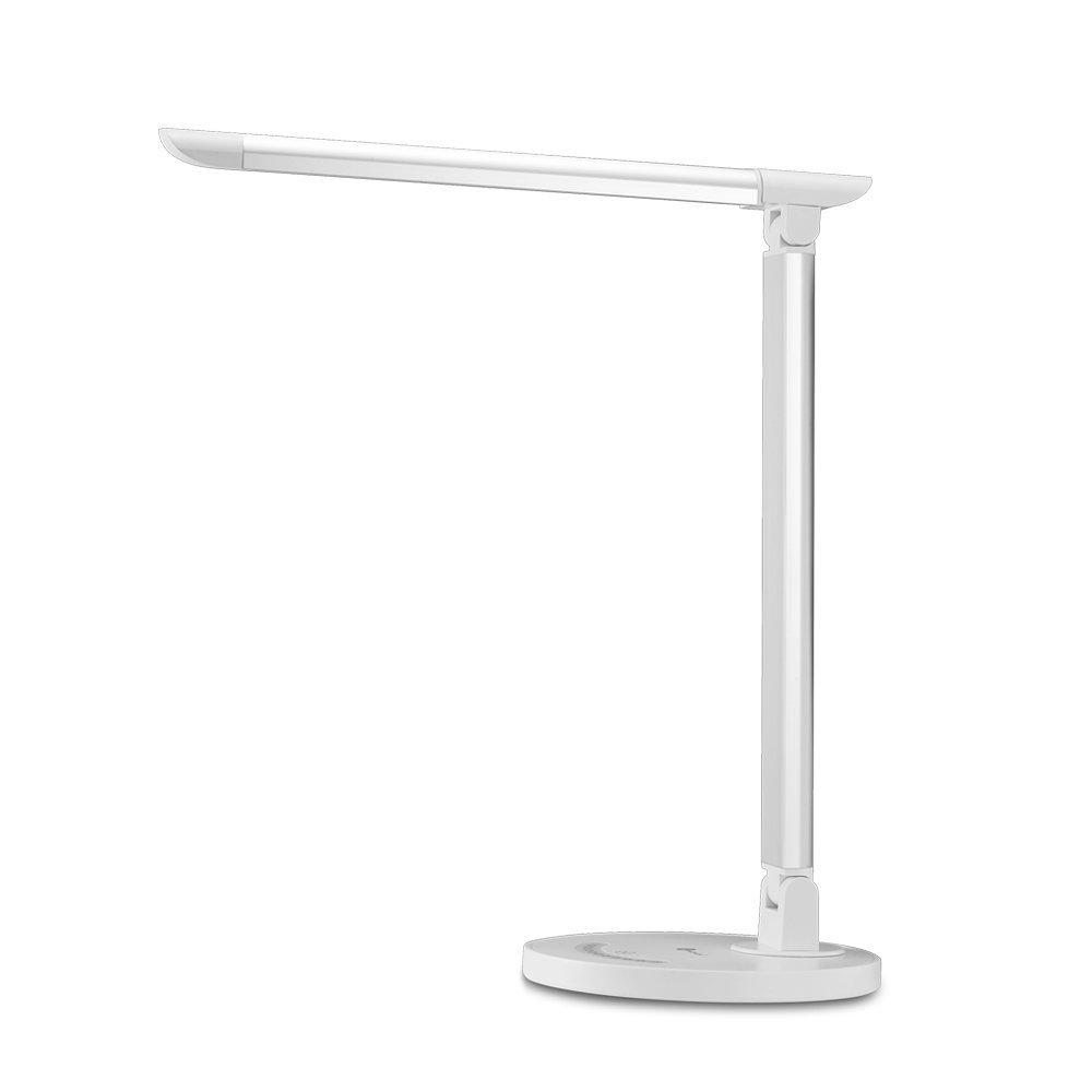 TaoTronics Lampe de Bureau LED 5 Modes de Couleur et 7 Niveaux de Luminosité, Tête de Lamp Rotative et Réglable Contrôle Tactile Protection des Yeux avec 1 Port Chargeur USB pour Charger Smartphone