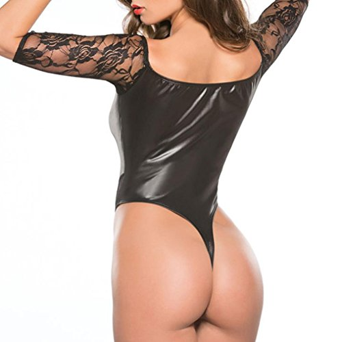 Body Bodysuit Patent Tight Black Dress Backless 2 Women Lingerie Clubwear Mini RJDJ Leather Sexy zaEAv0