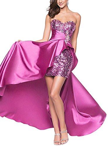 Pailletten Kurz mit Damen Brautjungfer im Abendkleid vorderen Festlich langen Kleid Cocktailkleid Kleid Bandeau Sexy ärmellos Lila Partykleid TwqqtIX