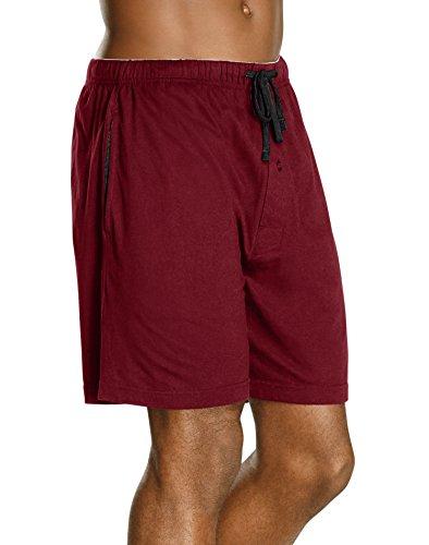 Hanes Men's Jersey Lounge Drawstring Shorts with Logo Waistband 2-Pack, Biking Red/Black, Large ()