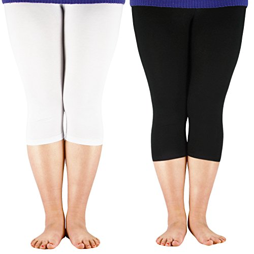 Zando Womens Capri Length Plus Size Pants Breathable Casual Cropped Leggings for Comfort Wear 2 Pairs White Black US 4X Plus(Tag (Men Looking For Plus Size Women)