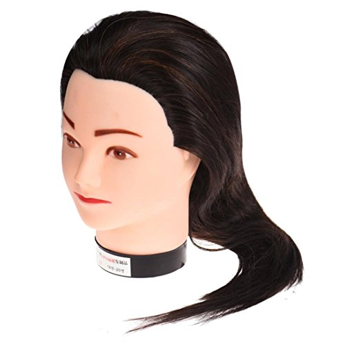 Dummy Costume Makeup (Leewa Mannequin Head Hair Synthetic Cosmetology Mannequin Manikin Training Head Model - 55cm Hair Length - Black)