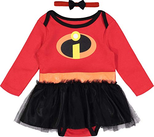 Disney Pixar The Incredibles Baby Girls' Costume Bodysuit Dress with Headband, Red 0-3 Months -