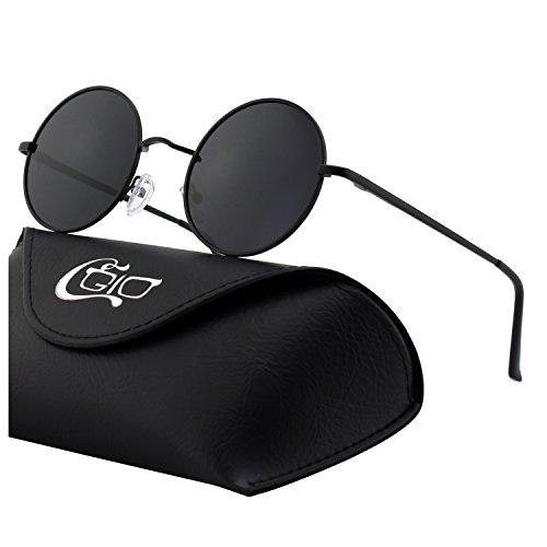 vintage CGID métallique 51mm Gris E01 inspirées style retro en lunettes cercle rond polarisées Noir Lennon du soleil de qwUrOZqz