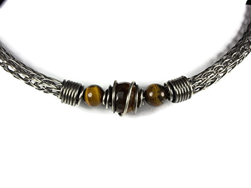 - Gold Tiger's Eye Viking Knit Choker Torque Necklace Sterling Silver