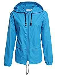 Meaneor Womens Rainwear Active Outdoor Hooded Cycling Packable and Lightweight Jacket