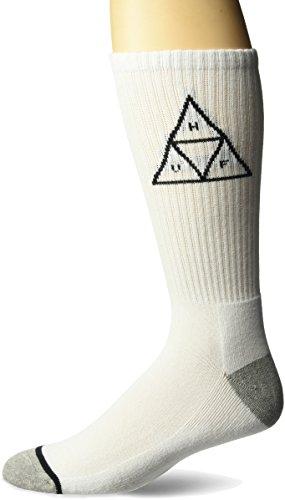 - HUF Men's Triple Triangle Crew Sock, white, O/S