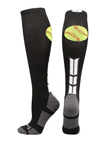 MadSportsStuff Softball Logo Over The Calf Socks (Black/White/Graphite, Medium)