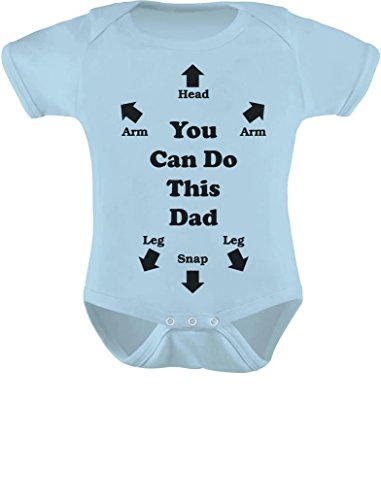 Tstars You Can Do This Dad - Funny Gift for New Dads Cute Baby Boy/Girl Bodysuit 12M (6-12M) Light Blue